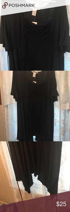 NWT American Rag Black shark bite hem sz 2/3x This is a soft black sharkbite hem dress or you can wear it as a top if you like.. material is polyester/rayon. size says 2x in tag but please go by measurements below. It may fit a 3x also because I wear a 2x in tops but this was a lot larger. Please use measurements below to get the right fit for your body type. Underarm to underarm is 48 inches. Top of dress to longest point is 44 inches, shortest pint is 37 inches. Lots of stretch so soft…