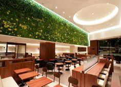 Doutor Coffee Shop by Ichiro Nishiwaki Design Office, Tokyo – Japan #design #greenwall #verticalgarden