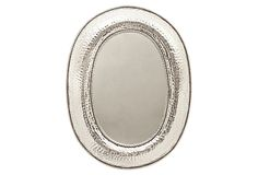 """Oval Gabriel Mirror with a hammered finish on OneKingsLane.com Made of: ron/glass/MDF Size:30""""W x 2.25""""D x 37.5""""H"""