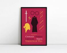 Movie poster Gryffindor inspired minimalist poster by AbbieImagine
