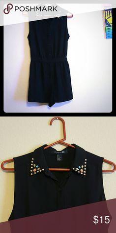 Black Forever 21 romper Cute black romper with rhinestones from Forever 21. Forever 21 Dresses Mini