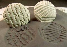 SALE 12.00 NOW 10.00,Bisque clay stamps  Hand carved Samps (2)  for stoneware clay, polymer clay, metal clay, and crafts. ( 0010 )