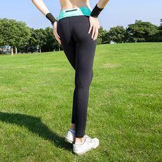 スポーツパンツ付きジッパーポケットレギンスフィットネスハイウエスト弾性女性レギンスワークアウトパンツyogaジムランニングブランドレギンス