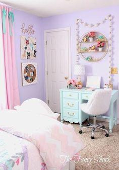 Pastel room decor says the fancy shack girls pastel bedroom room makeover pastel pink living room . Pastel Bedroom, Purple Bedrooms, Teen Bedroom, Bedroom Themes, Diy Bedroom, Pastel Room Decor, Girls Bedroom Colors, Kids Bedroom Ideas For Girls Tween, Comfy Bedroom