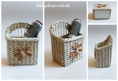 Little box for hairclips, paper wicker, made from paper