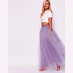 Buy Little Mistress Maxi Tulle Prom Skirt at ASOS. Get the latest trends with ASOS now. Long White Tulle Skirt, Purple Maxi Skirts, Long Maxi Skirts, Tulle Skirts, Purple Skirt, Denim Skirts, Tutu En Tulle, Long Skirts For Women, Chiffon