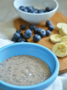 Banana Blueberry Buckle    2 tablespoons fresh blueberries  1/2 large ripe banana    Puree blueberries and banana in a blender; serve immediately    Best for Babies Age: 6 months and up