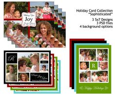 "Christmas Photo Card, Holiday Season, 4, 5, 6 images, ""Sophisticated"" Collection, black, blue, green, red, Templates for Photographers"