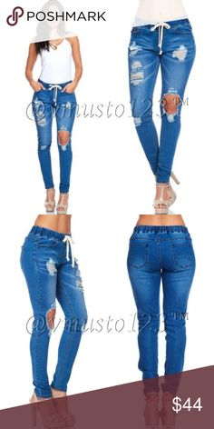 ‼️ONLY 3 LEFT- Med Wash Low Rise Destroyed Denim DESIGNED IN USA- Gorgeous destroyed denim low rise jeans. MEGA STRETCHY and the most comfortable pair of jeans I've ever worn. Have the style without compromising comfort! Stretchy wAist with drawstring. Sells for $58 on other sites. Get them here for less!!!  80%COTTON,18%POLYESTER,2%SPANDEX. Fits true to size FITTED fit, not meant to be casual or baggy. S(2-4) M(6-8) L(10-12) -PRICE ABSOLUTELY FIRM UNLESS BUNDLED! Ankle length. Inseams…