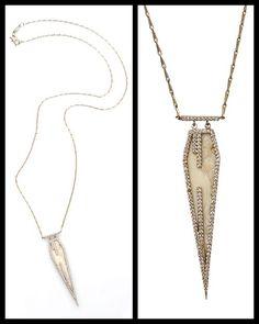 Monique Pean fossilized walrus pentagonal necklace with diamonds.