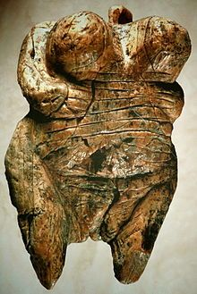 Venus of Hohle Fels. Woolly mammoth tusk. Venus figurine found in 2008 near Schelklingen, Germany. It is dated to between 35.000 & 40000 years ago. It is the oldest undisputed example of Upper Paleolithic art and figurative prehistoric art in general.