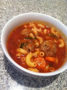 Italian Meatball Soup - homemade meatballs, add broth, carrots, spinach, tomatoes and pasta. Becoming Betty