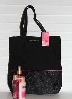 VICTORIA'S SECRET BLING BLACK GIFT TOTE BAG W BODY WASH LOTION MIST 4 PC SET NWT