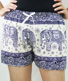 Boho soft white and blue elephant print shorts. These seem much comfier and classier than jean shorts