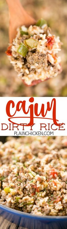 Cajun Dirty Rice - delicious one-pot meal!! Ready in under 30 minutes! Great for Mardi Gras parties!!! Ground beef, pork sausage, onion, bell pepper, celery, cajun seasoning, rice, chicken broth and diced tomatoes and green chiles. This was a huge hit in our house!