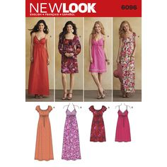 misses' design your look dress in knee or maxi length with bodice and sleeve variations. new look sewing pattern.