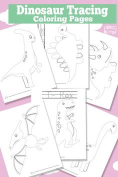 Dinosaur Tracing Coloring Pages