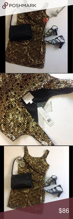 Romeo & Juliet Couture Gold Sequence Mini Dress Romeo & Juliet Couture Gold Sequence Elegant Dress, Size Small, NWT Romeo & Juliet Couture Dresses Mini