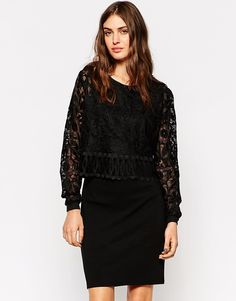 Image 1 of Y.A.S Lace Sleeve Shift Dress
