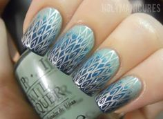 Teal Feather Gradient Nails.