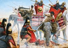 A recreation of the Battle of Thapsus in 46 CE, by Seán Ó'Brógáín. The Battle of Thapsus was an important battle during Caesar's Civil War BCE), and. Ancient Rome, Ancient History, War Elephant, Military Costumes, History Encyclopedia, Roman Soldiers, Carthage, Historical Pictures, Dark Fantasy