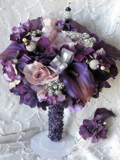<3 I want this!!  Purple Brooch Bouquet with Genuine Amethyst Covered by GagasBooty, $250.00