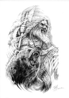 Viking and Bear, together as warriors Tattoo Thor, Heidnisches Tattoo, Pagan Tattoo, Norse Tattoo, Viking Tattoos, Bear Tattoos, Animal Tattoos, Body Art Tattoos, Sleeve Tattoos