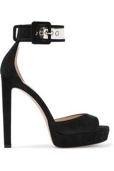Jimmy Choo - Mayner Pvc-trimmed Suede Platform Sandals - Black - IT