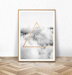 Geometrische Cloud Print große abstrakte schwarz-weiß