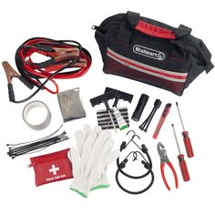 Includes 12ft 10 Gauge jumper cables, work gloves, bungee cords, tire repair kit, emergency blanket, first aid kit, flashlight with detachable tripod and more! 10 Gauge 12 ft Jumper Cables. 1 Weather Proof Emergency Sign.