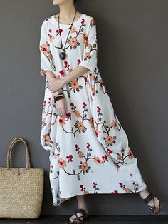 Vintage Floral Embroidered Irregular Half Sleeve O-neck Women Maxi Dress