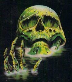 """ horror in form of a slimy, toxic waste skull "" Arte Horror, Horror Art, Horror Films, Wow Art, Vintage Horror, Pulp Art, Psychedelic Art, Airbrush, Dark Art"