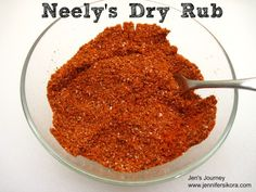 Dry Rub Neely's Dry Rub -- This is the exact recipe that they use on the show and in their restaurant.Neely's Dry Rub -- This is the exact recipe that they use on the show and in their restaurant. Dry Rub For Ribs, Bbq Dry Rub, Dry Rubs, Homemade Spices, Homemade Seasonings, Homemade Bbq, Spice Rub, Spice Mixes, Spice Blends
