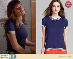Rachel's blue top with striped trim on Glee.  Outfit Details: http://wornontv.net/29437/ #Glee