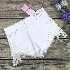 8DESS Loose Lace Denim Shorts