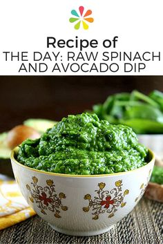 Impress your guests with this delicious dip from The Healthy Family and Home. Simply puree spinach, avocado, onion, garlic, salt, and lemon in a food processor until smooth. Then serve it up with whole-wheat crackers, corn chips, or fresh vegetables. #spinichandavocadodip #healthyrecipes #everydayhealth   everydayhealth.com