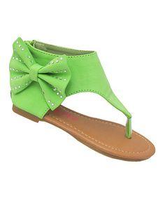 Look at this #zulilyfind! Green Bow Karylle Sandal #zulilyfinds