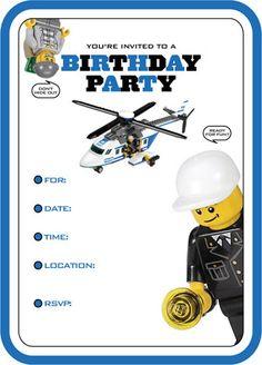 Lego city Birthday invites by  Garnet ROse etsy