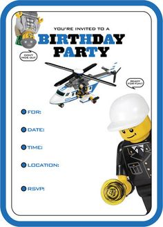 Lego city Birthday invites by  Garnet ROse etsy