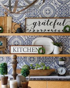 Would you believe that this is wallpaper?! We can't get over how perfect this kitchen vignette is! (: @julie.thedesigntwins) #thecottagejournal #cottagestyle #cottage #repost