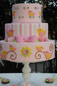 super ideas for baby girl cake bird Gorgeous Cakes, Pretty Cakes, Cute Cakes, Fondant Cakes, Cupcake Cakes, Sweets Cake, Bolo Fack, Girly Cakes, Pink Cakes
