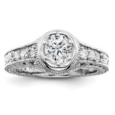14k White Gold A Diamond engagement ring