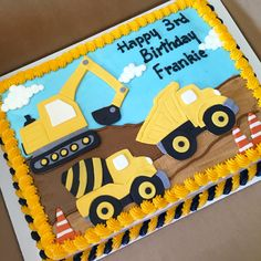 Construction themed cake #cakedesigns #constructioncakes #sheetcakesdonthavetobeboring #sheetcakes #construction #constuctioncake