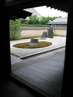 Zen, rock, garden, ryoan-ji, Japan