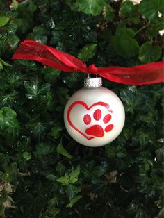 Red Paw Print Christmas Ornament Pet by BrushStrokeOrnaments