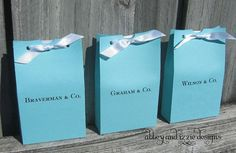 Tiffany Blue Wedding by abbeyandizziedesigns on Etsy, $63.00  (we could probably make these...blue bag, hole punch, and some ribbon)