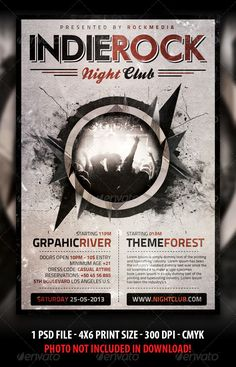 Indie Rock Concert / Party Flyer — Photoshop PSD #music #live • Available here → https://graphicriver.net/item/indie-rock-concert-party-flyer/3843111?ref=pxcr