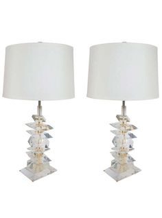Pair of Ultra Modern Sculptural Lamps in the Style of Karl Springer