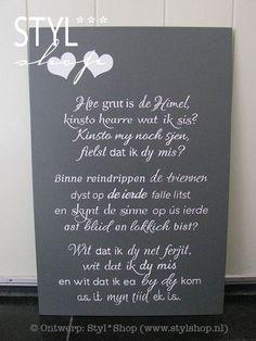 Ofskiedsgedichtsje yn it Frysk Grief, Quotations, Texts, Language, Jokes, Memories, Afrikaans, Memoirs, Souvenirs