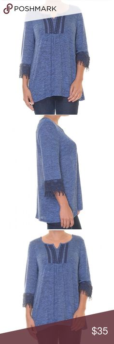 Women's 3/4 Sleeve Fringe Trim sweater Top blue 67% Rayon 32% Polyester 1% Spandex Crochet trim Pullover style 3/4 sleeve Split neck Stretch blend fabric Style & Co Sweaters
